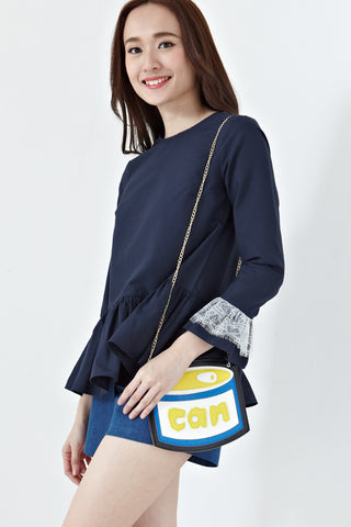 Faranda Bell Sleeve Top in Navy Blue