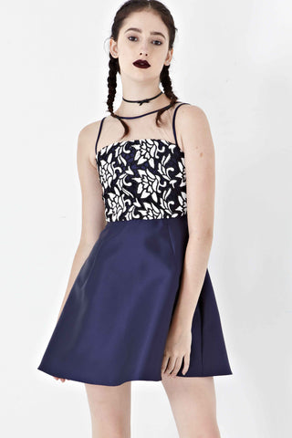Leila Lace Bodice Skater Dress in Navy Blue - Dresses - Twenty3