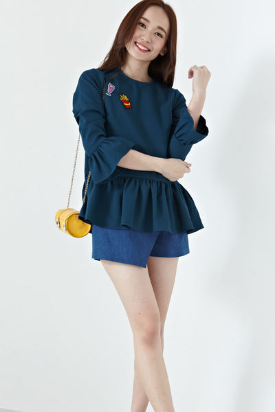 Suri Bell Sleeve Top in Teal - Tops - Twenty3
