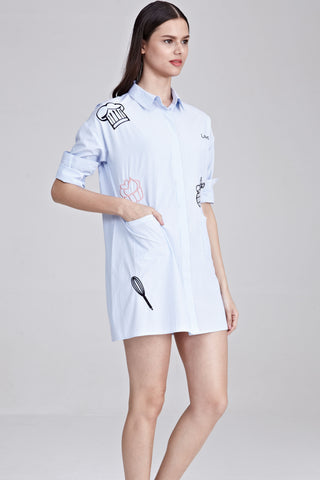 Elicia Oversized Shirt Dress with Embroidery in Pinstripes