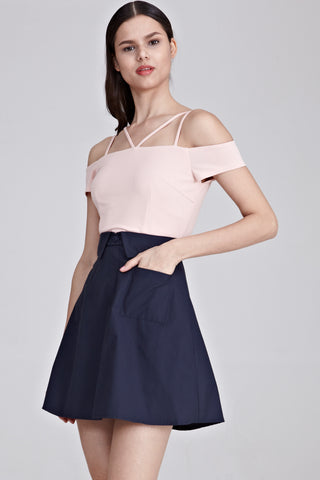 Althea Off Shoulder Colour Block Dress in Pink and Navy Blue