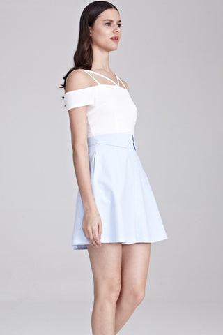 Althea Off Shoulder Colour Block Dress in White and Blue
