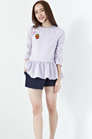 Suri Bell Sleeve Top in Purple