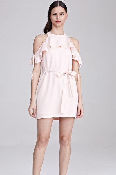 Two-Way Alfy Cold Shoulder Shift Dress in Light Pink