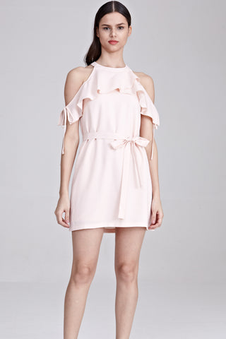 Two-Way Alfy Cold Shoulder Shift Dress in Light Pink - Dresses - Twenty3