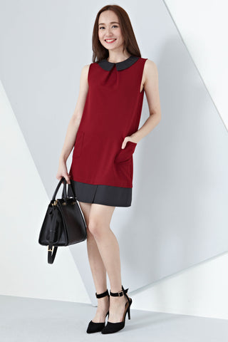 Kennedy Panel Shift Dress in Burgundy - Dresses - Twenty3