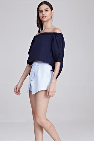 Freha Off Shoulder Top in Navy Blue - Tops - Twenty3