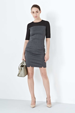 Twenty3 - Carla Mesh Sleeves Bodycon Dress in Grey -  - Dresses - 1