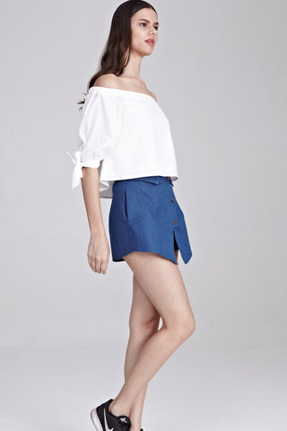 Freha Off Shoulder Top in White - Tops - Twenty3