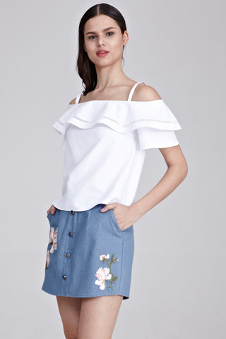 Jessamine Ruffle Cold Shoulder Top in White
