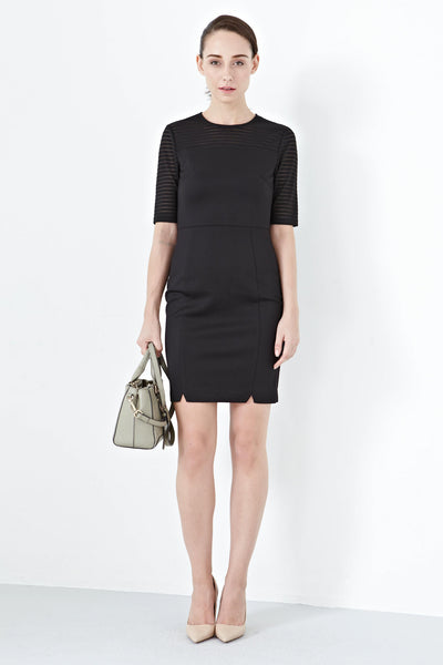 Carla Mesh Sleeves Bodycon Dress in Black - Dresses - Twenty3