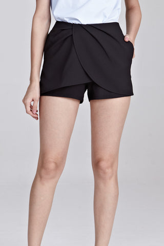 Caryn Drape Skort in Black