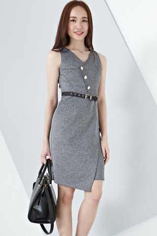 Pomona Button Detail Sleeveless Bodycon Dress in Grey