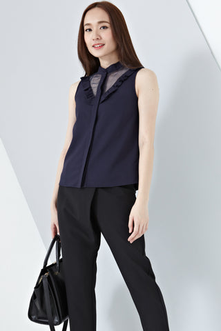 Eloise Organza Panel Sleeveless Top in Navy Blue