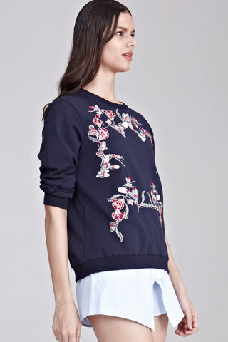Sendayan Long Sleeve Jumper with Floral Embroidery in Navy Blue
