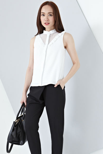 Eloise Organza Panel Sleeveless Top in White - Tops - Twenty3