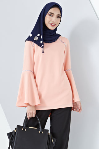 Petunia Flute Sleeves Top with Crystal Embellishments in Salmon Pink - Tops - Twenty3