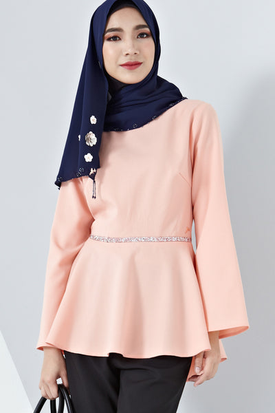 Adbera Flute Sleeves Top in Salmon Pink