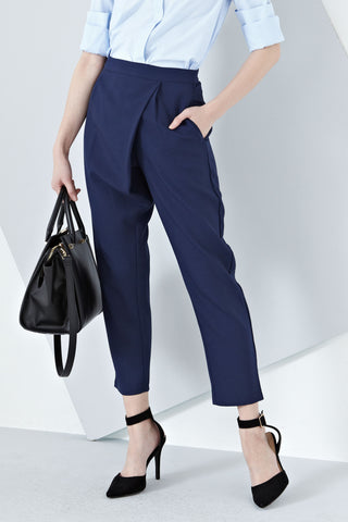 Antonia Drape High Waist Pants in Navy Blue - Bottoms - Twenty3