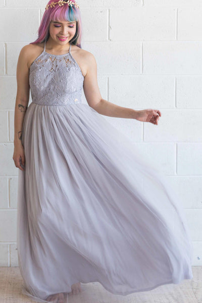 Esmeralda Maxi Lace Overlay Bridal Gown with Strappy Back in Lilac
