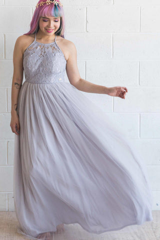 Esmeralda Maxi Lace Overlay Bridal Gown with Strappy Back in Lilac - Maxi Dress - Twenty3