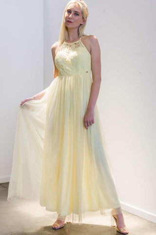 Esmeralda Maxi Lace Overlay Bridal Gown with Strappy Back in Yellow