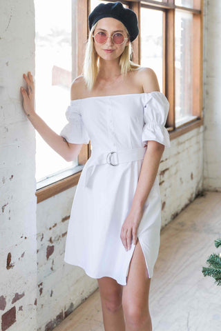 Claudette Off Shoulder Dress in White