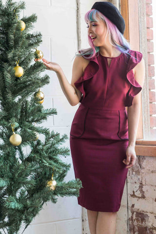 Zinnia Ruffle Sleeveless Sheath Dress in Burgundy