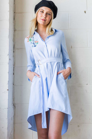 Elvira High Low Hem Shirt Dress with Floral Embroidery in Light Blue