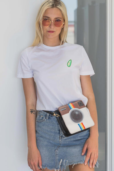 Carise T-Shirt with Avocado Patch in White - Tops - Twenty3