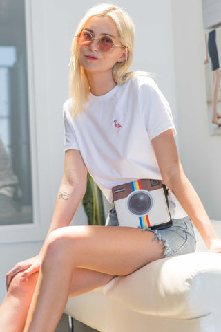 Edda T-Shirt with Flamingo Patch in White