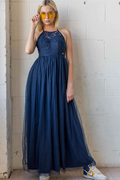 Esmeralda Maxi Lace Overlay Bridal Gown with Strappy Back in Navy Blue