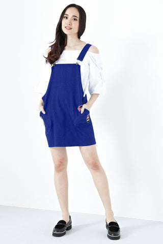 Twenty3 - Aeryn Patches Pinafore Dress in Cobalt Blue -  - Dresses - 1