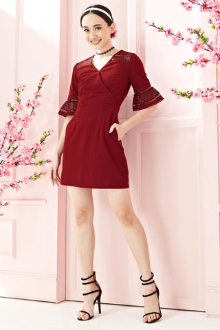 Twenty3 - Astonia Flute Sleeves Sheath Dress in Burgundy -  - Dresses - 1
