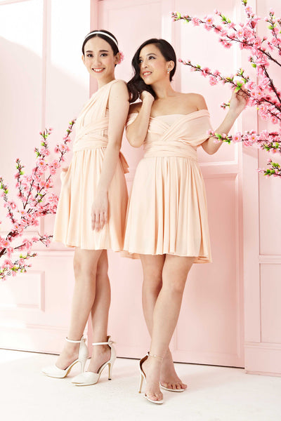 Twenty3 - Marilyn Convertible Bridesmaids Dinner Dress Version III in Peach (Short) -  - Bridesmaids - 1
