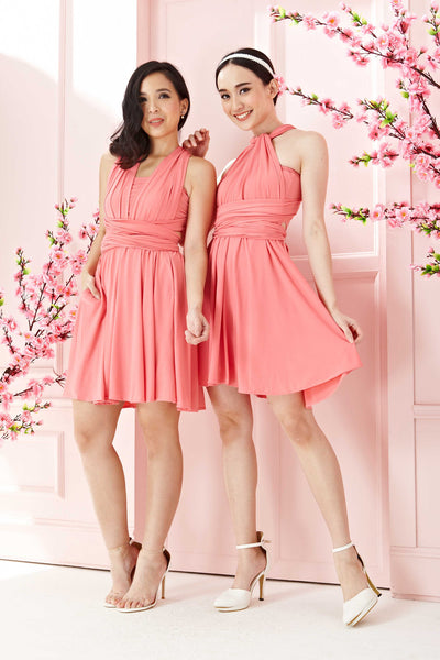 Twenty3 - Marilyn Convertible Bridesmaids Dinner Dress Version III in Rose Pink (Short) -  - Bridesmaids - 1