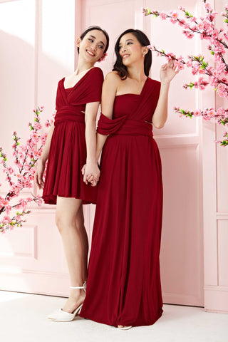 Twenty3 - Marilyn Convertible Bridesmaids Dinner Dress Version III in Burgundy (Long) -  - Bridesmaids - 1