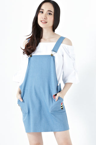 Twenty3 - Aeryn Patches Pinafore Dress in Light Denim -  - Dresses - 1
