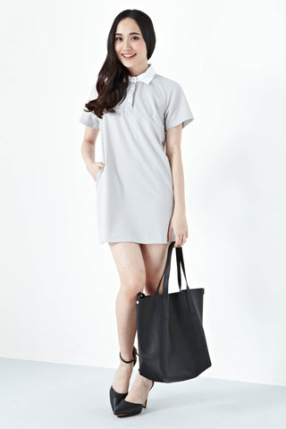 Ferrona Collar Shift Dress in Grey