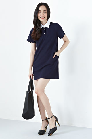 Ferrona Collar Shift Dress in Navy Blue
