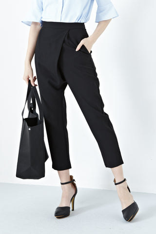 Antonia Drape High Waist Pants in Black - Bottoms - Twenty3