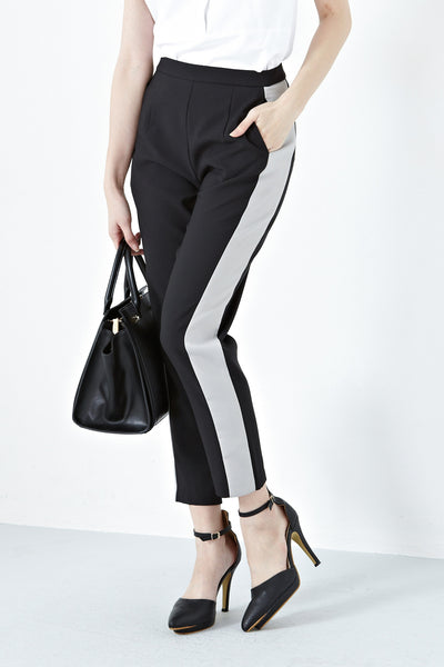 Charlize Contrast Panel Tapered Pants in Black with Grey Stripe - Bottoms - Twenty3