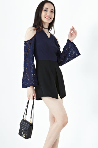 Twenty3 - Ayla Cold Shoulder Lace Sleeves Romper in Navy Blue -  - Romper - 1