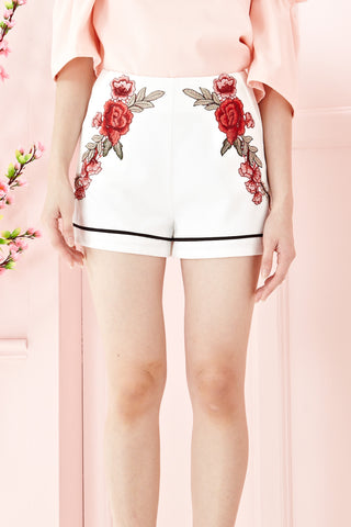 Twenty3 - Teagan High Waist Floral Embroidery Shorts in White -  - Bottoms - 1