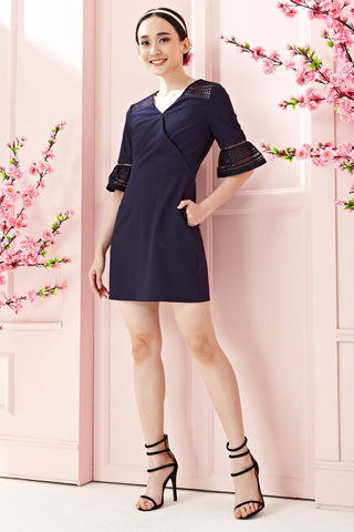 Twenty3 - Astonia Flute Sleeves Sheath Dress in Navy Blue -  - Dresses - 1