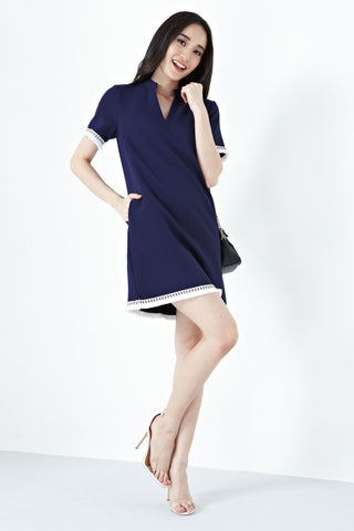 Arcene Two Way Lace-up Detail Shift Dress in Navy Blue