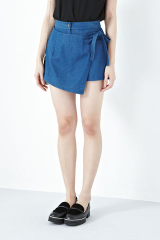 Fleur Wrap Front Skort in Light Denim - Bottoms - Twenty3