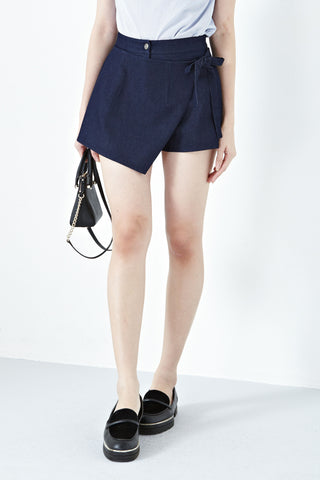 Fleur Wrap Front Skort in Dark Denim - Bottoms - Twenty3