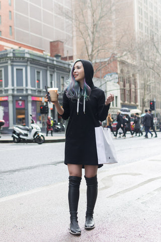 Enya Long Sleeves Knit Dress with Hood in Black