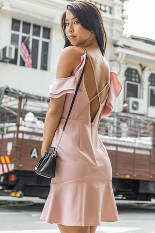 Demetria Sheath Dress with Peplum in Dusty Pink - Dresses - Twenty3